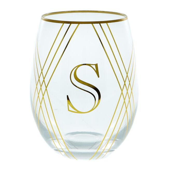 Letter S Glass Tumbler