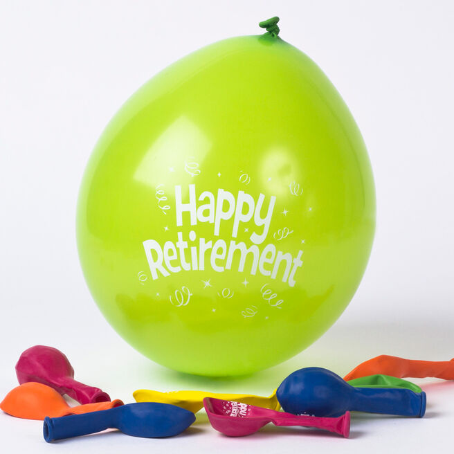 Multicoloured Happy Retirement Small Latex Balloons, Pack Of 10