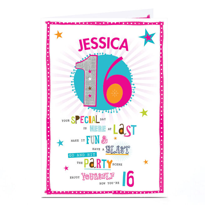 Personalised 16th Birthday Card - Have A Blast