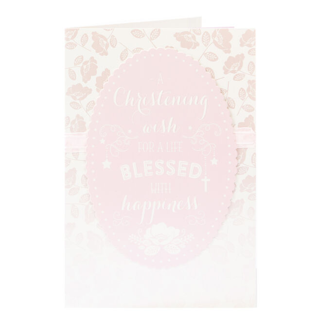 Christening Card - Pink, Blessed With Happiness