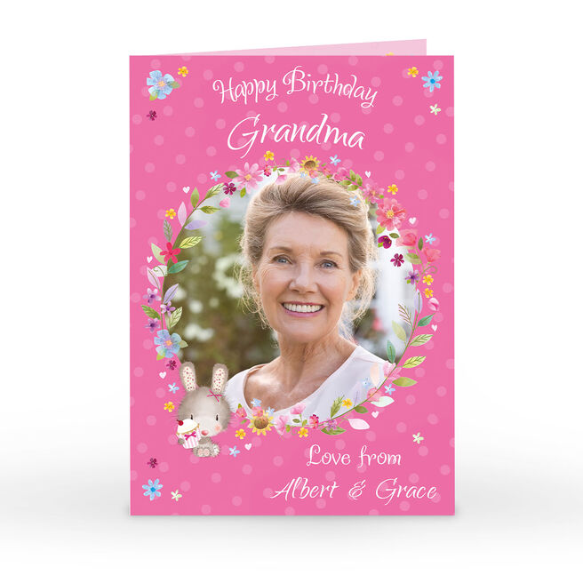 Personalised Birthday Card - Pink Floral Wreath