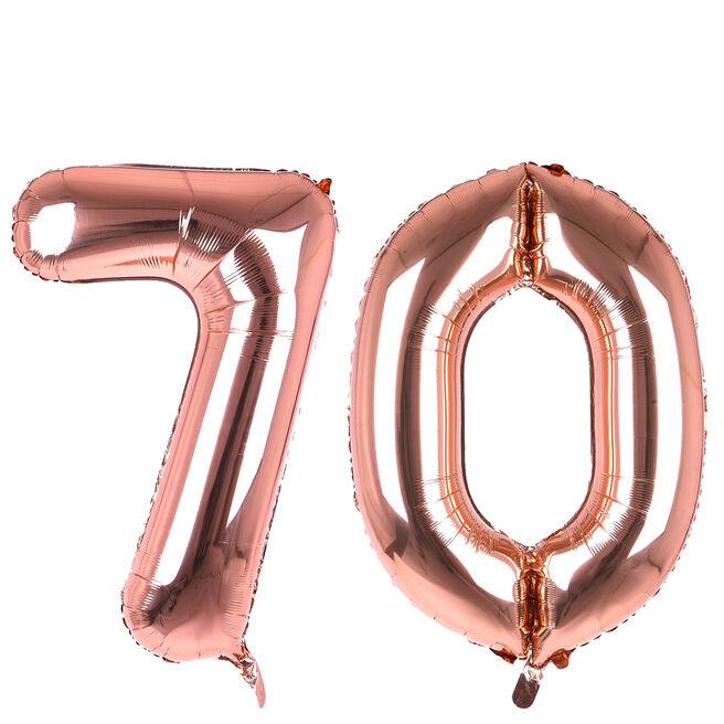 Age 70 Giant Foil Helium Numeral Balloons - Rose Gold (deflated)