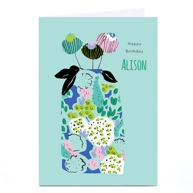 Personalised Rebecca Prinn Birthday Card - Flower Pot