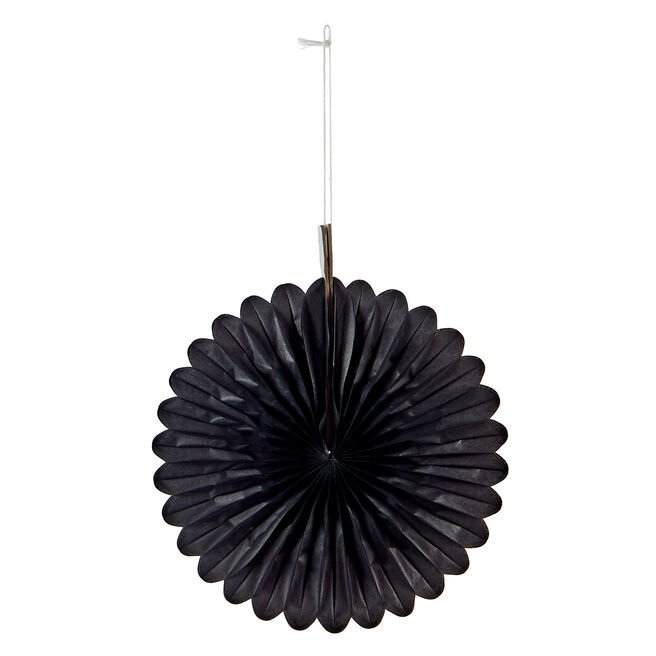 Mini Decorative Tissue Paper Fans - Black (Pack of 3)