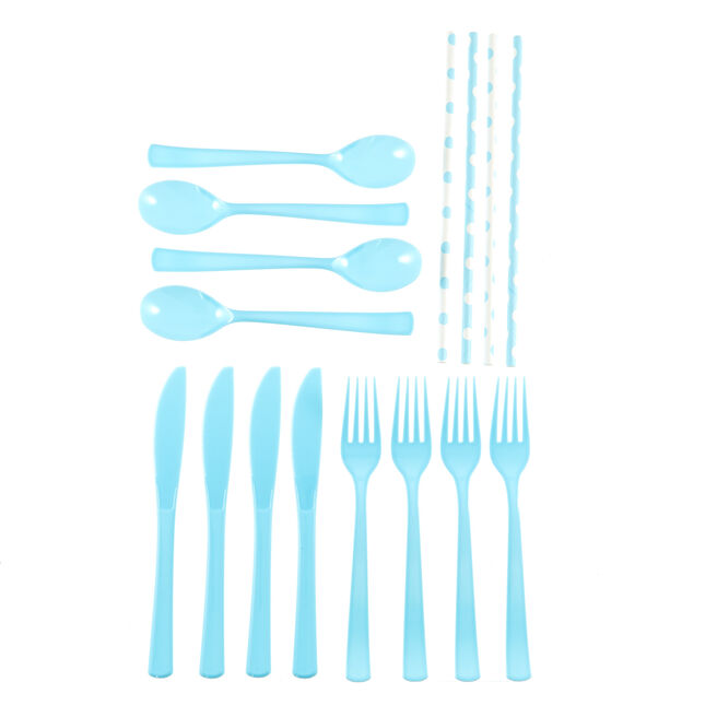 Powder Blue Cutlery & Paper Straws Party Kit - 74 Pieces