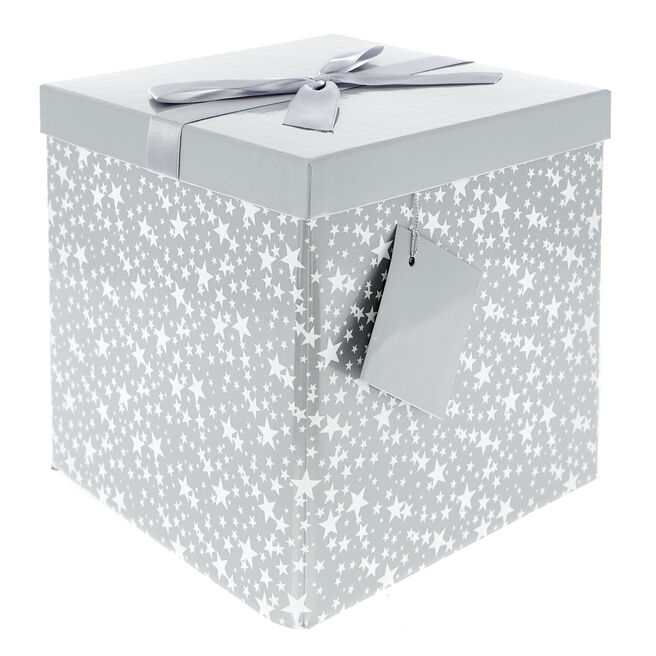 Flat-Pack Large Gift Box - White & Silver Stars