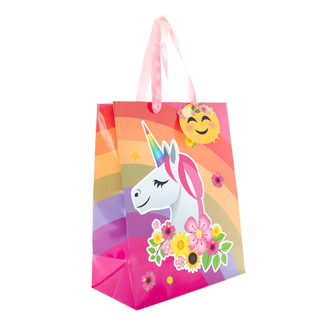 Medium Portrait Gift Bag - Unicorn Emoji