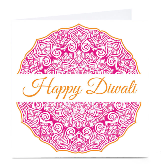 Personalised Roshah Designs Diwali Card - Pink & Gold