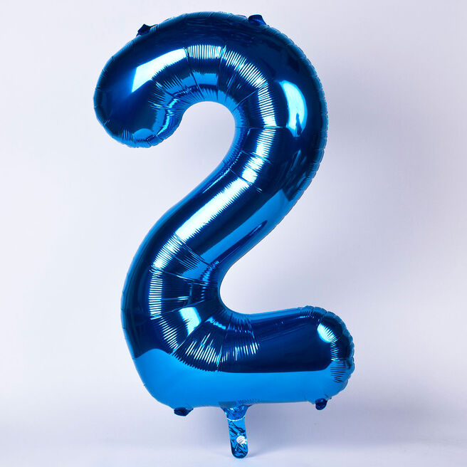 Blue Number 2 Giant Foil Helium Balloon INFLATED