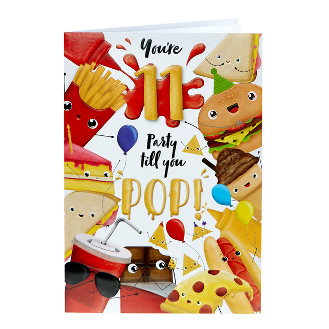 11th Birthday Card - Party Till You Pop!