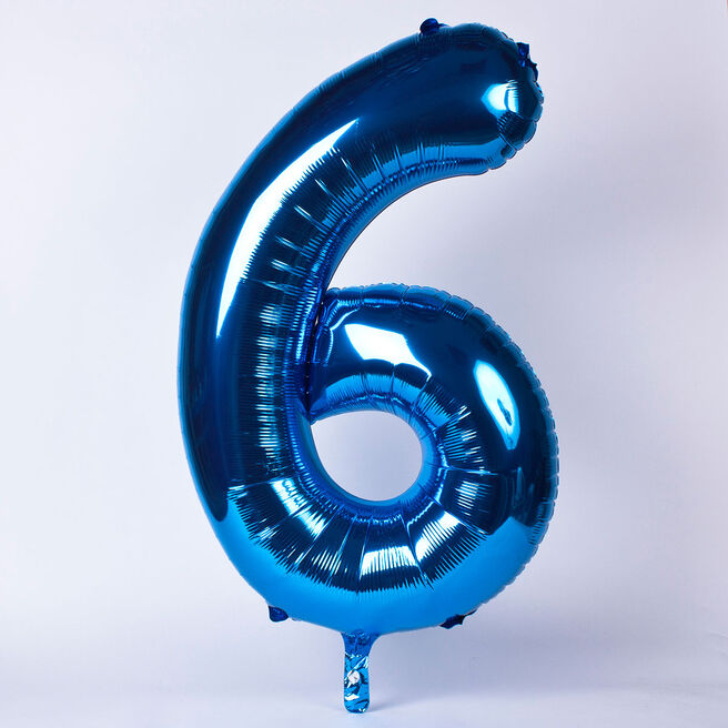 Blue Number 6 Giant Foil Helium Balloon INFLATED