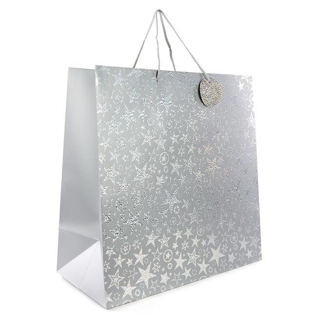 Giant Silver Stars Gift Bag