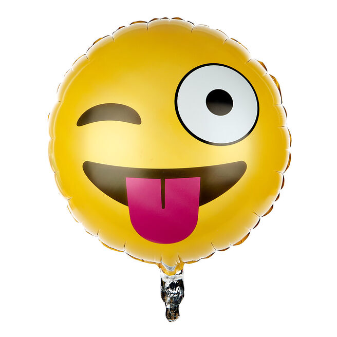 Wink Face Emoticon 13.5-Inch Foil Helium Balloon