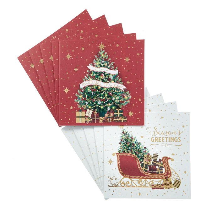16 Tree & Sleigh Charity Christmas Cards - 2 Designs