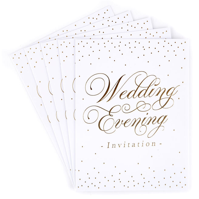 White & Gold Evening Wedding Invitations - Set of 12