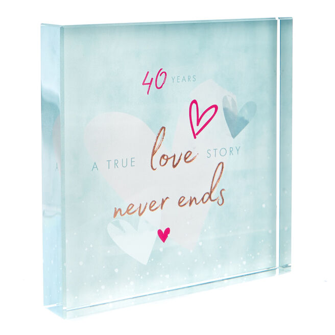 Perfect Together Glass Keepsake - 40th Anniversary