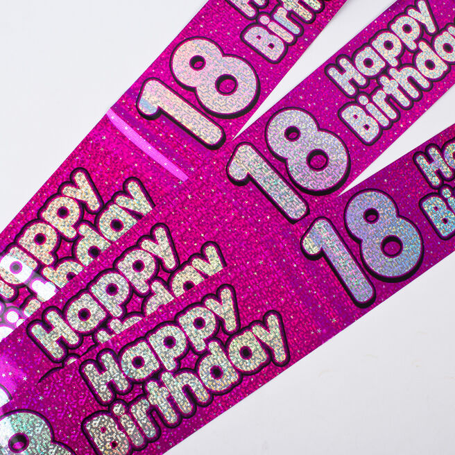 Holographic Pink Foil 18th Birthday Party Banners