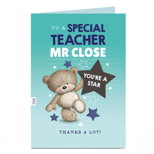 Hugs Personalised Thank You Teacher Card - You're A Star