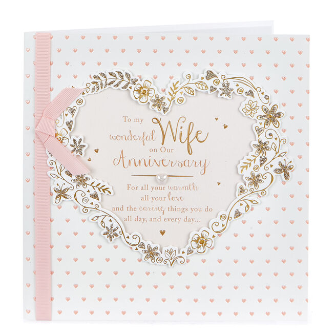 Exquisite Collection Anniversary Card - Wonderful Wife