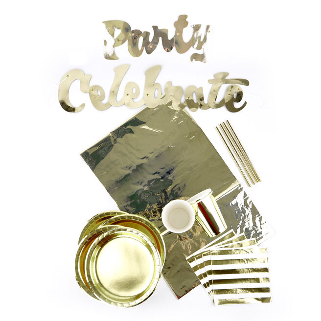 Gold Foil Party Tableware Bundle - 87 Pieces
