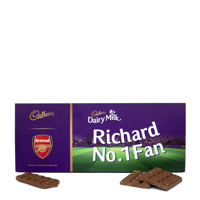 850g Personalised Arsenal Cadbury Dairy Milk Bar