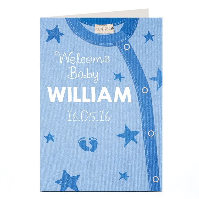 Personalised New Baby Card - Blue Baby Grow