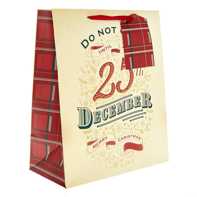 Medium Portrait 25th December Christmas Gift Bag