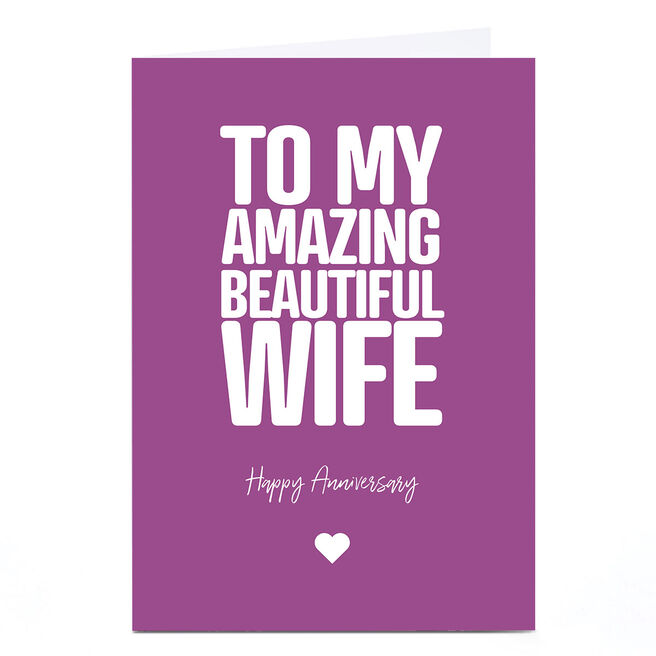Personalised Punk Cards Anniversary Card - Amazing Beautiful Wife