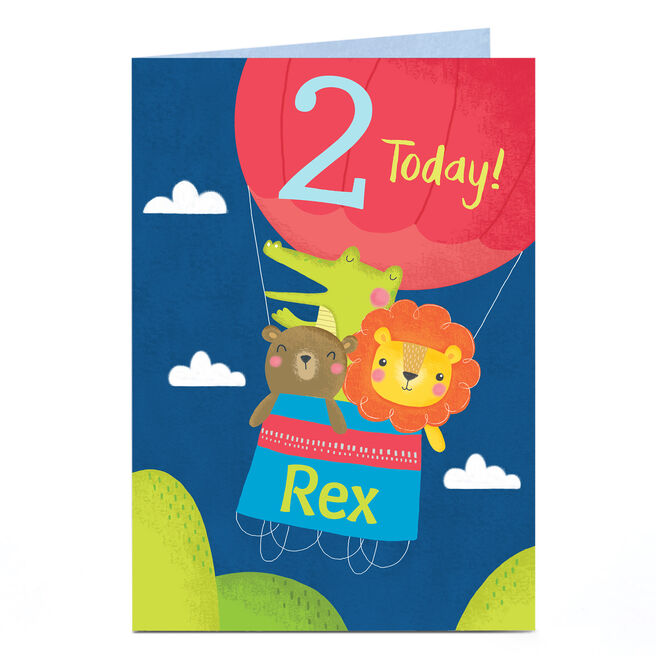 Personalised Birthday Card - Animal Air Balloon, Any Age