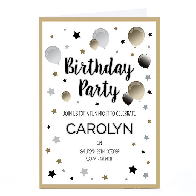 Personalised Birthday Party Invitation - Black & Gold