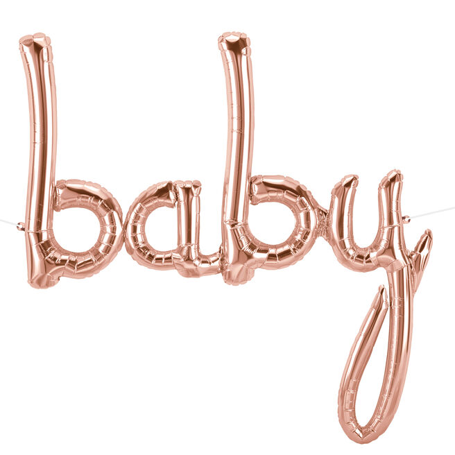 31-Inch Rose Gold Script Balloon - Baby
