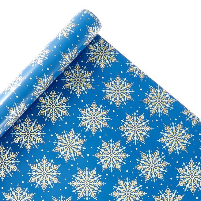 Blue Snowflakes Christmas Wrapping Paper - 4 Rolls