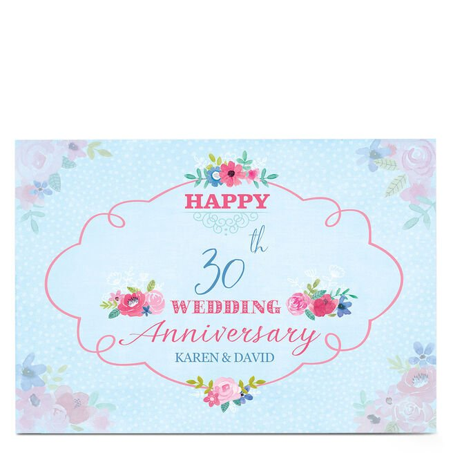 Personalised Anniversary Card - Pretty Flowers