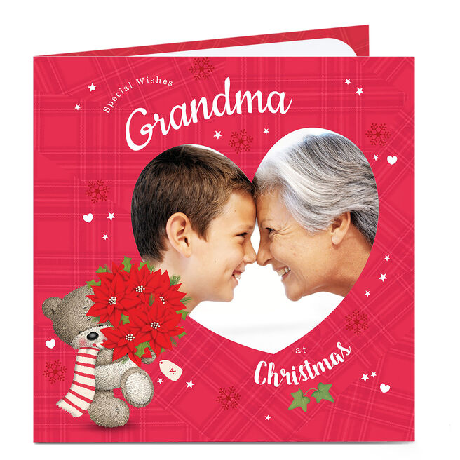 Hugs Photo Christmas Card - Red And Hearts