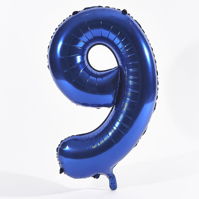 Blue Number 9 Foil Giant Helium Balloon (Deflated)