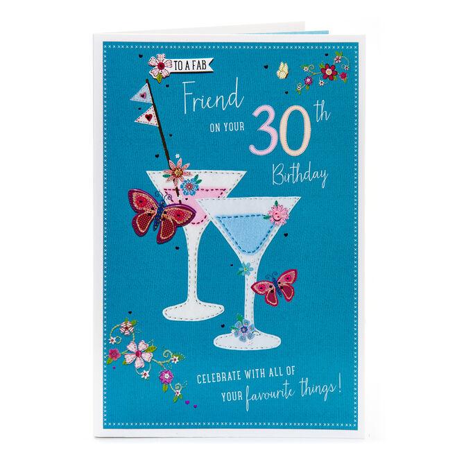 30th Birthday Card - For A Fab Friend