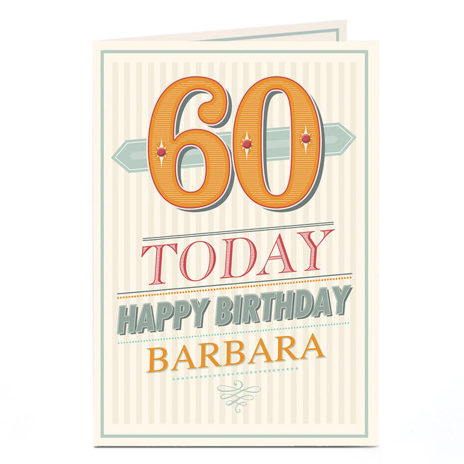 Personalised 60th Birthday Card - Stripes