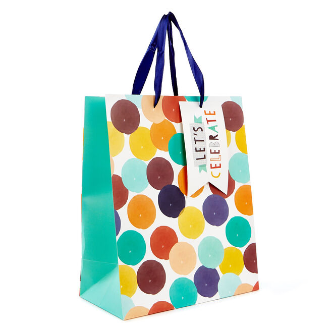 Medium Portrait Gift Bag - Let's Celebrate, Coloured Spots
