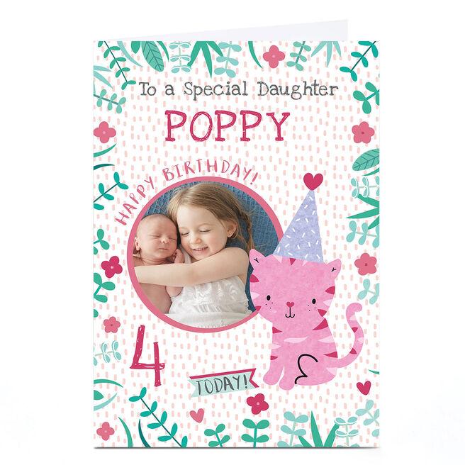 Photo Juniper & Rose Birthday Card - Pink Tiger