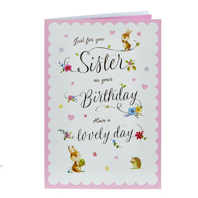 Birthday Card - Sister, Woodland Animals