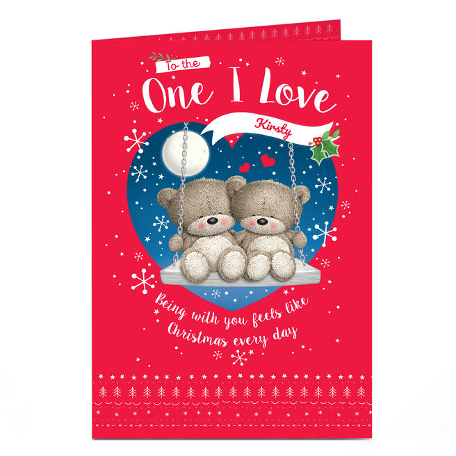 Personalised Christmas Card - Hugs Bear, To The One I Love