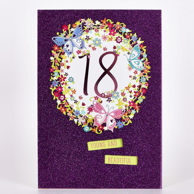 Signature Collection Birthday Card - 18th Purple Glitter