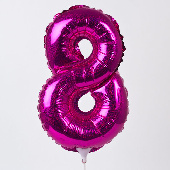 Holographic Pink Number 8 Balloon On A Stick