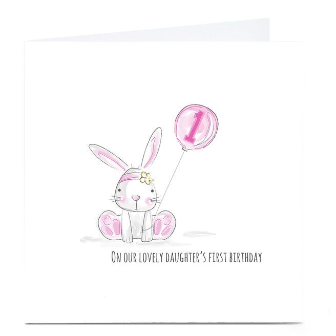 Personalised Rachel Griffin Birthday Card - Pink Rabbit, 1