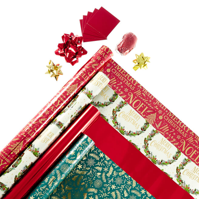 Traditional Christmas Wrapping Paper Pack - 4 Rolls & Accessories