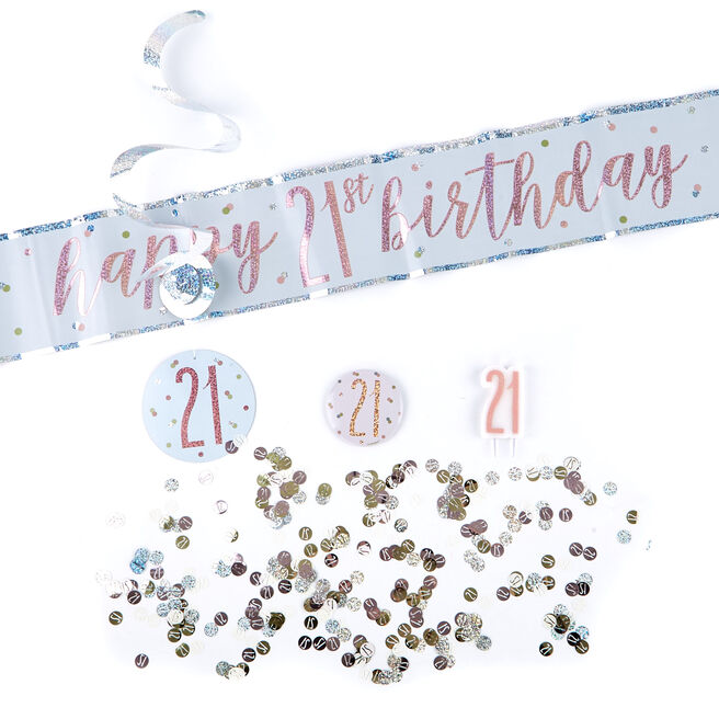 Rose Gold 21st Birthday Party Accessories Kit - 11 Pieces