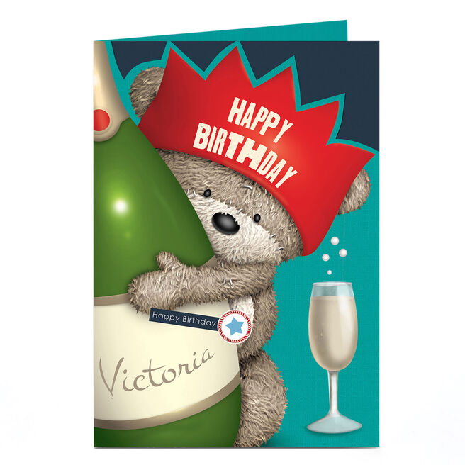 Personalised Hugs Bear Birthday Card - Champagne