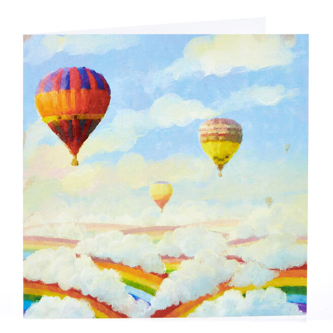 Blank Card - Watercolour Hot Air Balloons