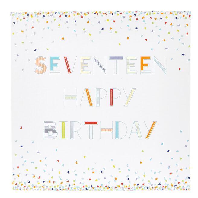 17th Birthday Card - Neon Confetti