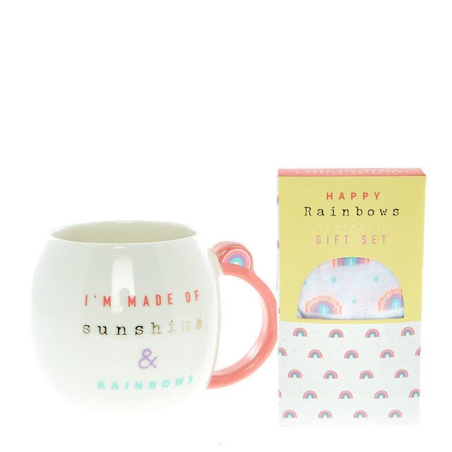 Happy Rainbows Socks & Mug Gift Set